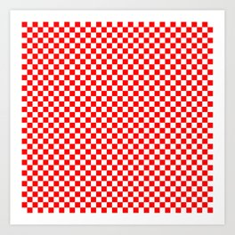 Large Australian Flag Red and White Check Checkerboard Art Print