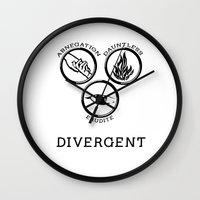 divergent Wall Clocks featuring Divergent (Black) by Lunil