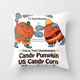 Candy Corn vs Candy Pumpkin Throw Pillow