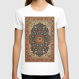 Central Persia 19th Century Authentic Colorful Dark Blue Red Tan Vintage Patterns T-shirt