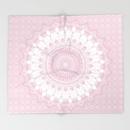 Boho Pink Mandala Throw Blanket
