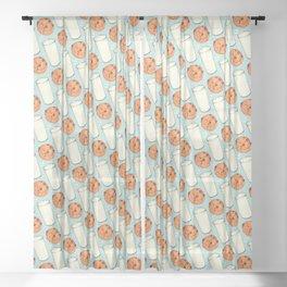 Milk & Cookies Pattern - Blue Sheer Curtain