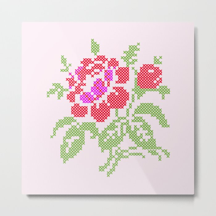 Embroidered red rose Metal Print