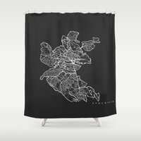 stockholm Shower Curtains featuring STOCKHOLM by Nicksman