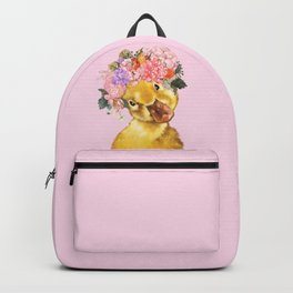 Yellow Duckling with Flowers Crown Backpack
