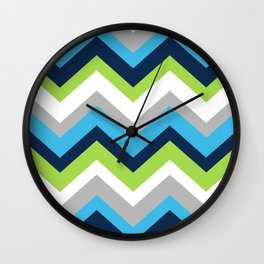 Chevron Pattern Navy Blue Green Gray Wall Clock