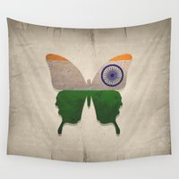 india Wall Tapestries featuring india butterfly by Steffi Louis
