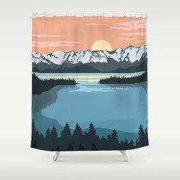 Lake Illustration Shower Curtain