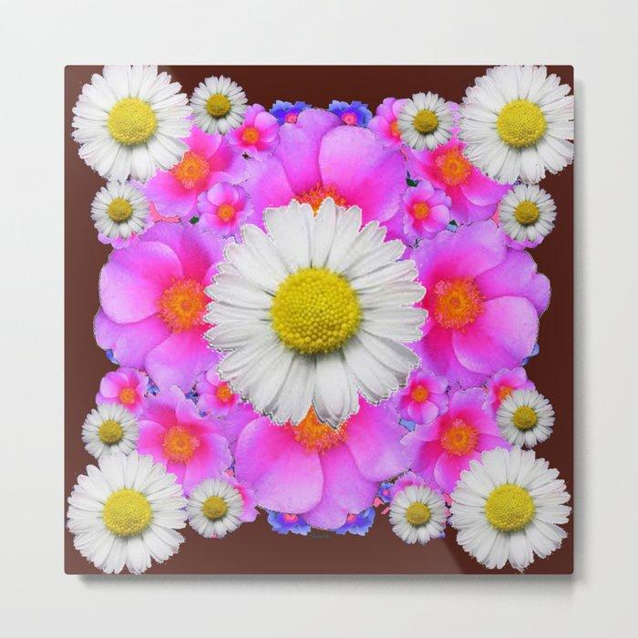 Colorful Fuchsia Rose Bouquet Garden Shasta Daisies Metal Print