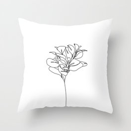 Plant one line drawing illustration - Marah Throw Pillow