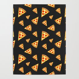 Cool and fun pizza slices pattern Poster
