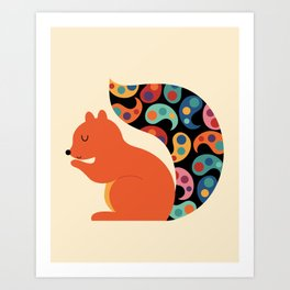 Paisley Squirrel Art Print