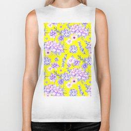 Modern elegant yellow lavender lilac pink watercolor floral Biker Tank