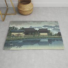 Hasui Kawase, Rainy Yasuniwa, Nagano Prefecture - Vintage Japanese Woodblock Print Art Rug