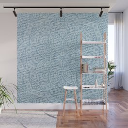 Mandala on Light Blue Jeans Wall Mural