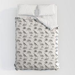 Museum Animals | Dinosaur Skeletons on White Comforters