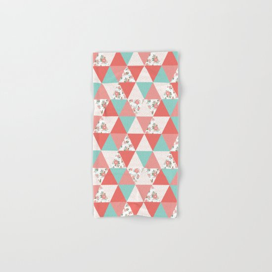 Triangle quilt pattern cute florals dots cheater quilt blanket quilter must have cute baby shower  Hand & Bath Towel
