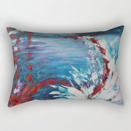 Emergence, abstract artwork, blue and white Rectangular Pillow