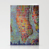 new york map Stationery Cards featuring New York map by Bekim ART
