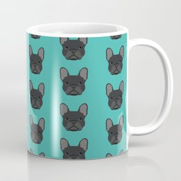 French Bulldog heads black coat cute dog breed custom dog art by pet friendly Coffee Mug