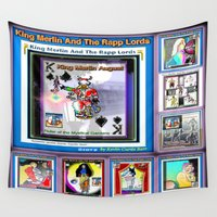 merlin Wall Tapestries featuring KING MERLIN AND THE RAPP LORDS by KEVIN CURTIS BARR'S ART OF FAMOUS FACES