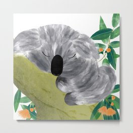 Sleepy Koala | Sweet Dreams | Orange Flowers Metal Print