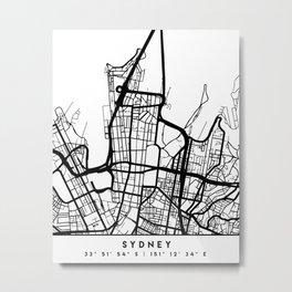 SYDNEY AUSTRALIA BLACK CITY STREET MAP ART Metal Print
