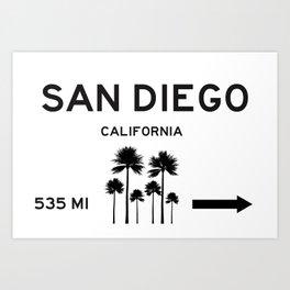 San Diego Road Sign Art Print