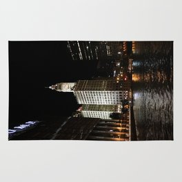 Wrigley Building and Chicago River at Night Color Photo Rug