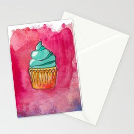 Watercolor Cupcake Stationery Cards