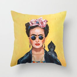 Modern Frida Kahlo Inspired Painting Throw Pillow