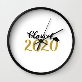 Class of 2020 lettering with graduation hat. Congratulations to graduates.  Wall Clock