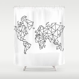 Geometric Low Poly Map of The World / Polygon geometry Shower Curtain