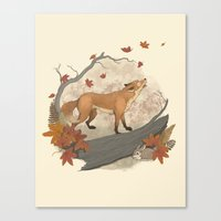 rabbit Canvas Prints featuring Fox and rabbit by Laura Graves