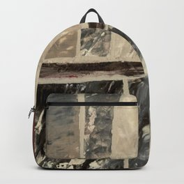 Textured Marble Popular Painterly Abstract Pattern - Black White Gray Red Backpack