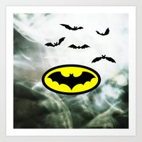 bat man Art Prints featuring Bat man  by haroulita