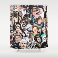niall horan Shower Curtains featuring Niall Horan - Collage by Pepe the frog