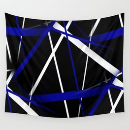 Seamless Royal Blue and White Stripes on A Black Background Wall Tapestry