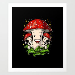 Magic Mushrooms Psychedelic Psilocybin Shrooms Art Print