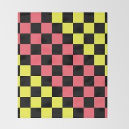 Black, Pink, & Yellow Checkerboard Pattern Throw Blanket