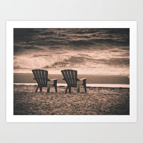 chairs on the beach Art Print