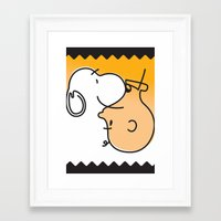 charlie brown Framed Art Prints featuring Snoopy & Charlie Brown by Goce Veleski
