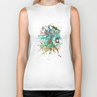 neverland Biker Tanks featuring Follow me to Neverland by Sybille Sterk