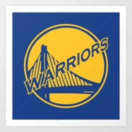 Golden State blue basketball logo Art Print