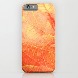 Skeleton fall leaves texture abstract background. Modern nature close-up photo. iPhone Case