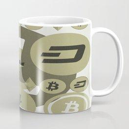 Ethereum, Bitcoin, Dash, Ripple, Litcoin pattern Coffee Mug