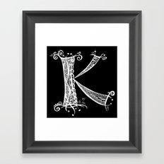 K White on Black Framed Art Print