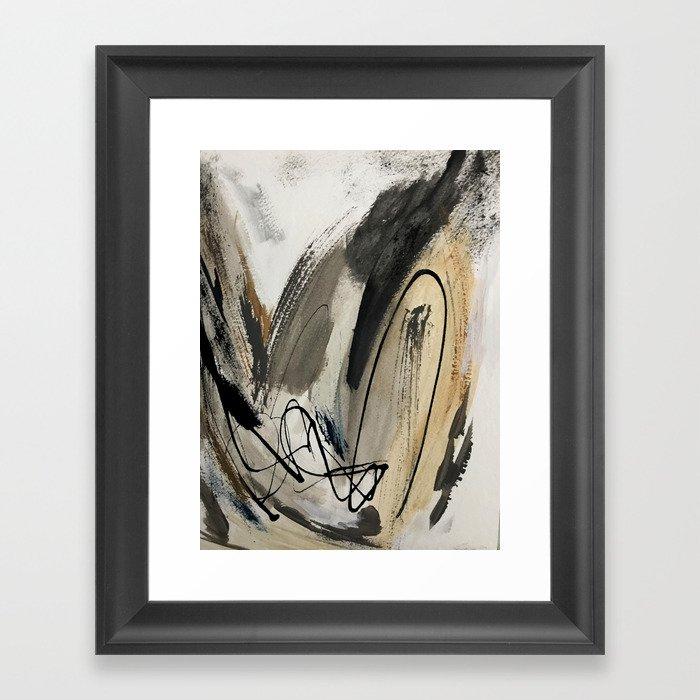Drift [5]: a neutral abstract mixed media piece in black, white, gray, brown Gerahmter Kunstdruck