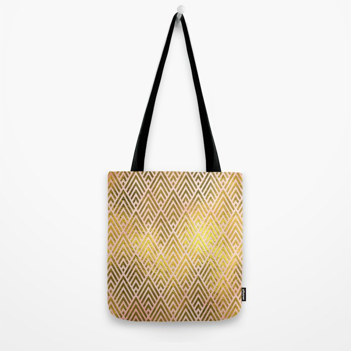Gold foil triangles on pink - Elegant and luxury triangle pattern Tote Bag