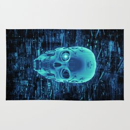 Gamer Skull BLUE TECH / 3D render of cyborg head Rug